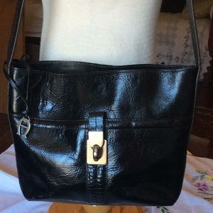 Etienne Aigner Blk Leather Croc Trim Shoulder Bag